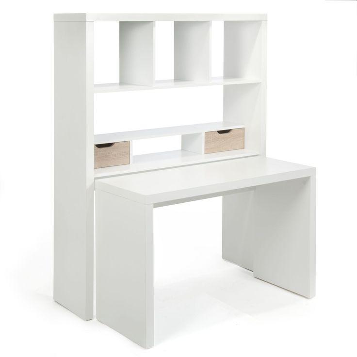Bureau modulable avec tag res et tiroirs blanc ch ne twisty les bureaux - Bureau multimedia blanc ...