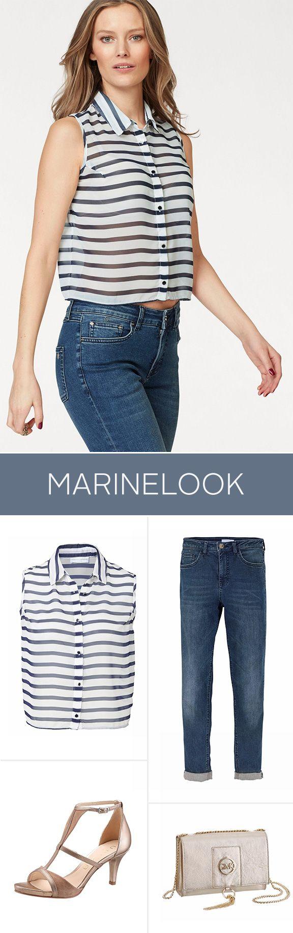 Ein trendiges Everyday-Outfit – made by Guido Maria Kretschmer! Der angesagte Marine-Look des Blusentops passt perfekt zur klassischen Jeans und eleganten Riemchensandaletten mit Absatz. Perfekt gekleidet für alle Anlässe!