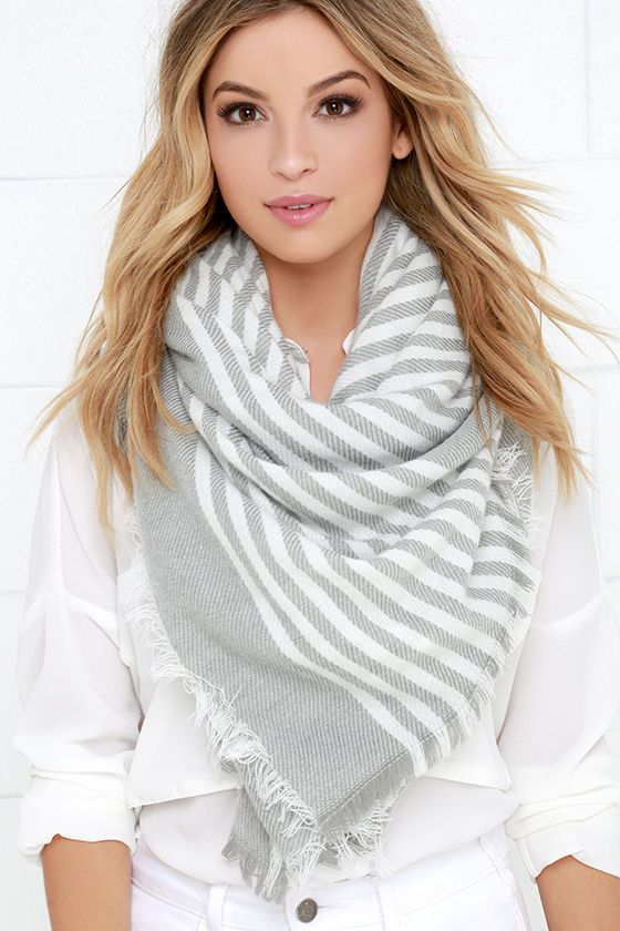 Single File Line Ivory and Grey Striped Scarf at Lulus.com!