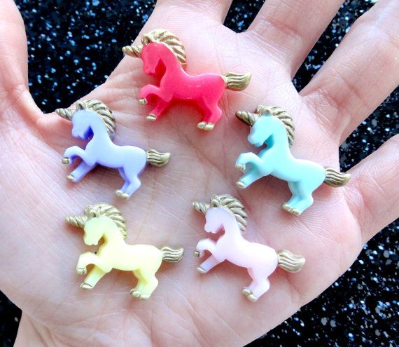 6 pcs  Colorful Fantastical Unicorn Resin by CraftyMissBettie