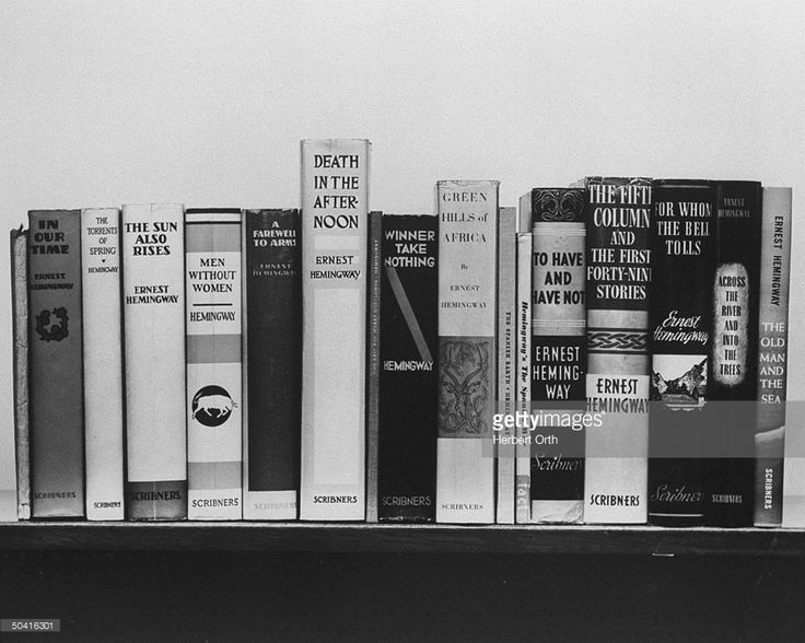 First editions of books by Ernest Hemingway.