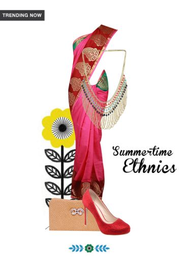 'Summertime Ethnics' by me on Limeroad featuring Multi Color Necklaces, Pink Sarees with Beige Clutches