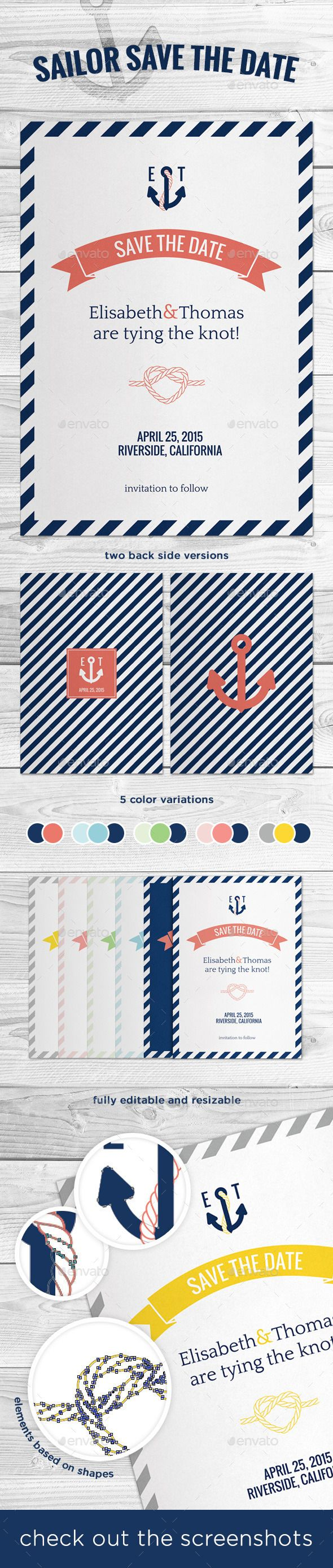 "Printable, fully customisable Sailor Save The Date.  Sailor / marine style Save The Date!  - 5 color variations - 2 back side versions - ready to print - CMYK - 5×7'' + 0.125"""" bleed - fully editable and resizable - elements based on shapes"