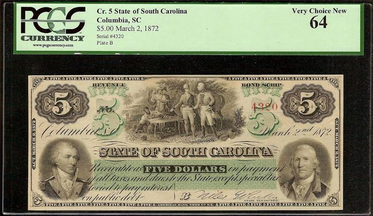 New! UNC 1872 $5 DOLLAR BILL SOUTH CAROLINA NOTE CURRENCY LARGE PAPER MONEY PCGS 64 https://www.paper-money-collector.com/product/unc-1872-5-dollar-bill-south-carolina-note-currency-large-paper-money-pcgs-64/ #Numismatics #UnitedStates