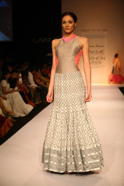Lakme Winter 2013 Shravan Kumar grey geometrical pattern dress