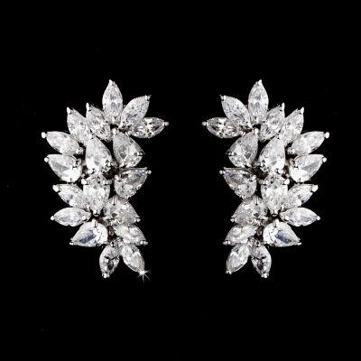 Natalia Wedding Earring : Retro-Vintage CZ Cluster
