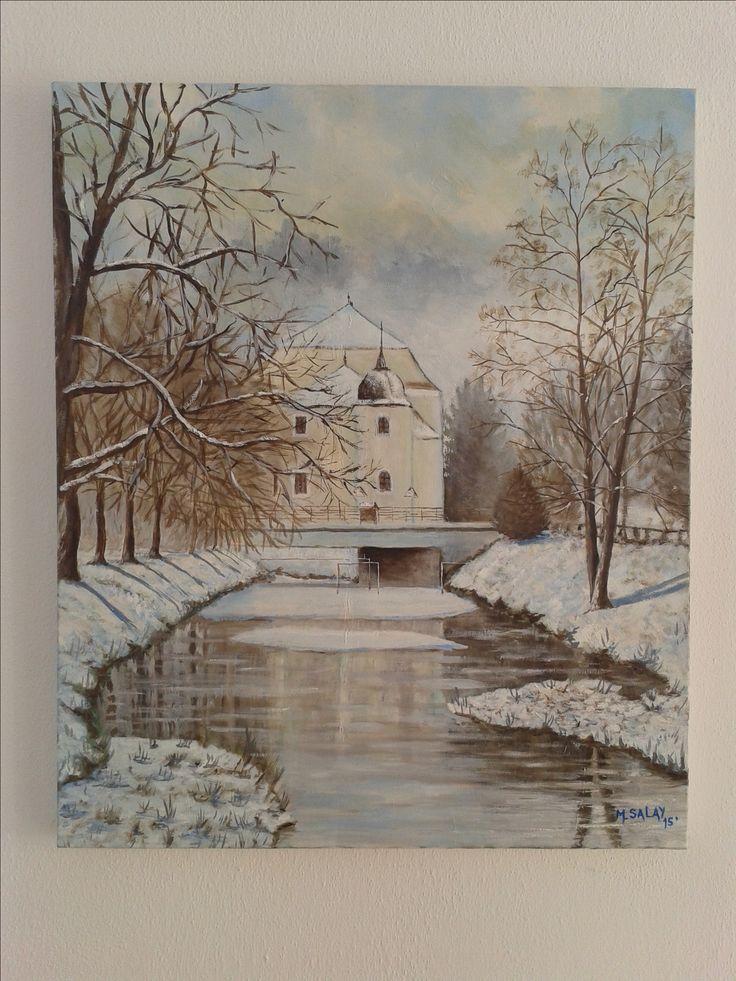 Kaštiel v Sobotisti olejomalba - Manor house in Sobotiste oil painting