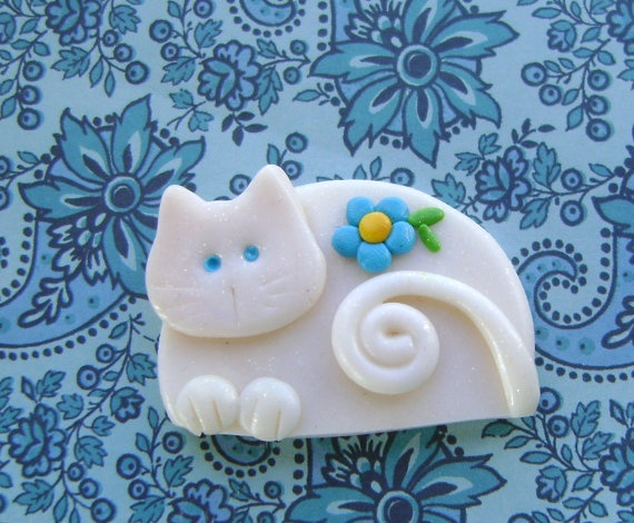Fimo Polymer Clay white Cat with turquoise flower by Coloraudia, $8.00