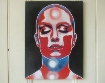 Painting of womans face canvas stencil art comic superhero urban pop art wall art home living abstract graffiti red blue white skin deep