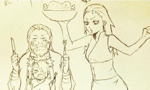 The Akimichi family - Chouji x Karui and their daughter Chouchou (haha.. tbh their relationship took me by surprise at first.. but oh well they look cute together too)