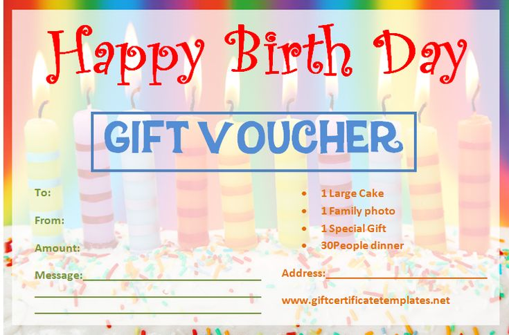 Birthday Gift Certificate Templates | Gift certificate ...