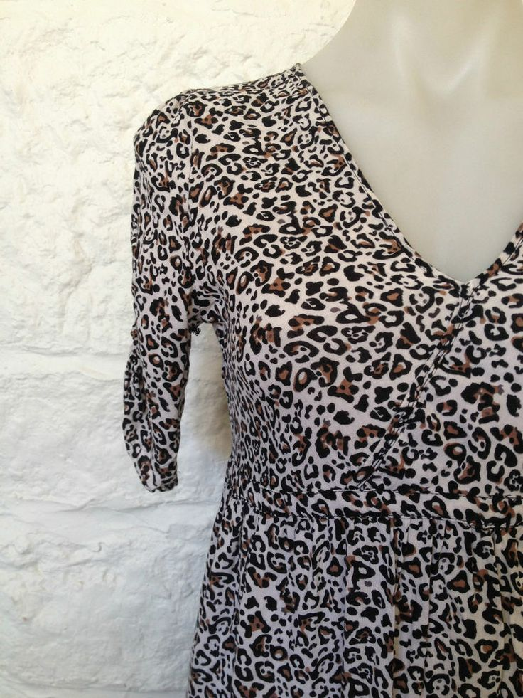 Ladies Cotton On Leopard Print 3/4 Sleeve Dress - Small - Now Selling! Click through to go to eBay auction.