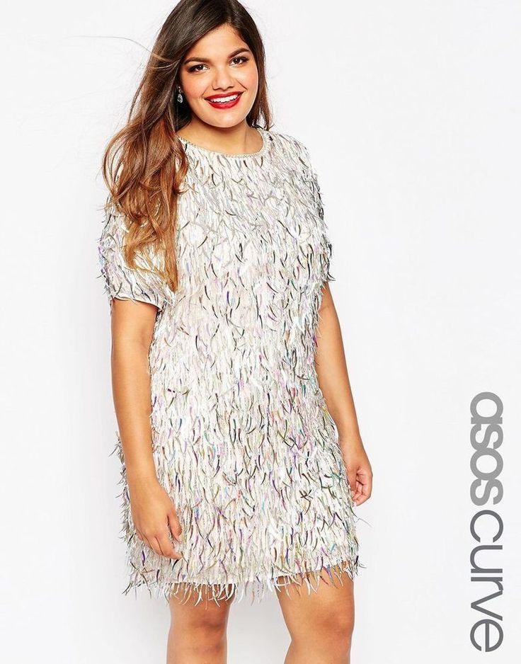 ASOS CURVE RED CARPET Plus Size Embellished Fringe Shift Tunic Dress UK 18-US 46