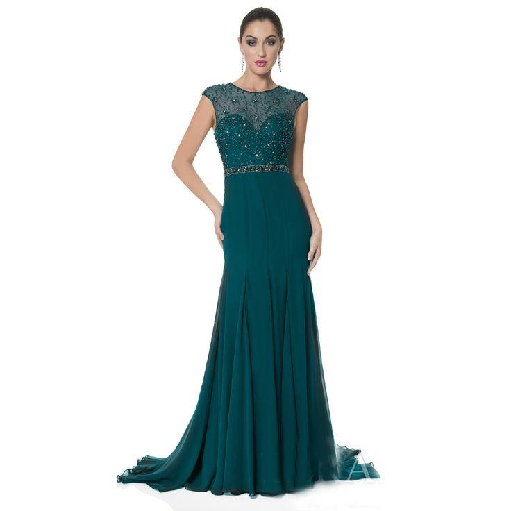 Abendkleider-donne-abiti-da-sera-formale-di-modo-in-rilievo-del-manicotto-della-protezione-verde-scuro.jpg (850×850)