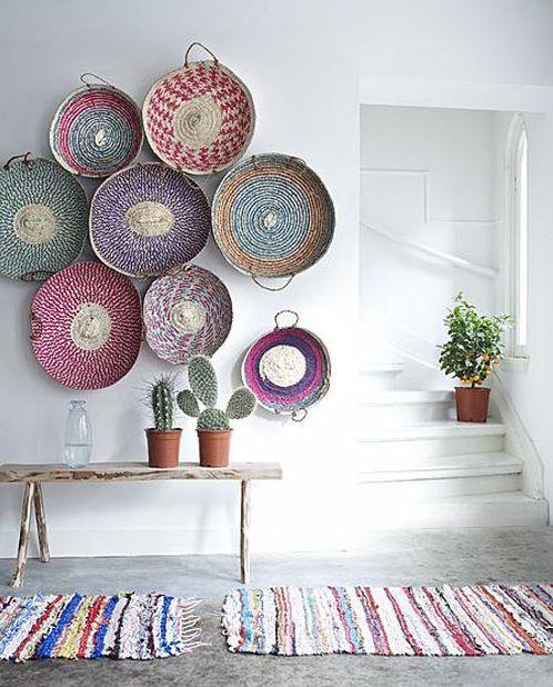 Decoracion rustica con cestas