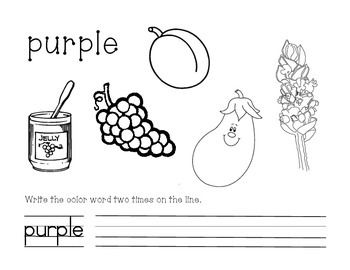 purple color and write worksheet - Color Purple Worksheets For Preschool