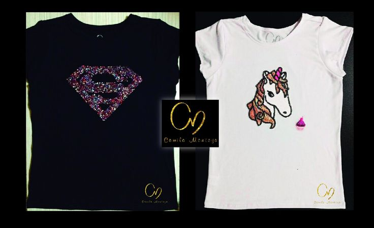 T-Shirt en algodón pima 100%, aplique en pedrería y lentejuelas. Colores de camiseta en negro, gris y blanco
