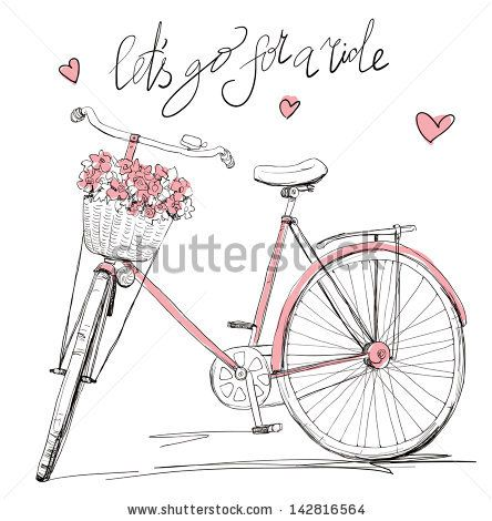 Bicycle with a basket full of flowers - stock vector id 142816564