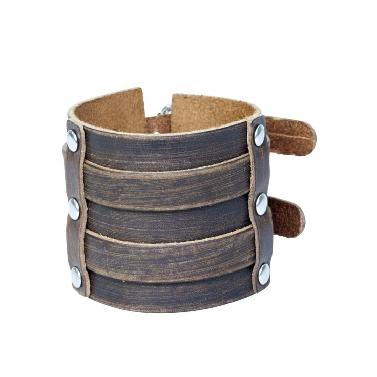 Men's Brown Leather Extra Wide 65mm Double Strap Cuff Bracelet with Buckles by…