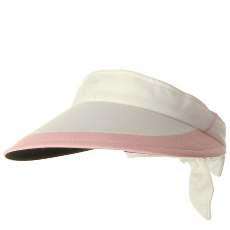 Athletic Mesh Large Peak Visor - White Pink
