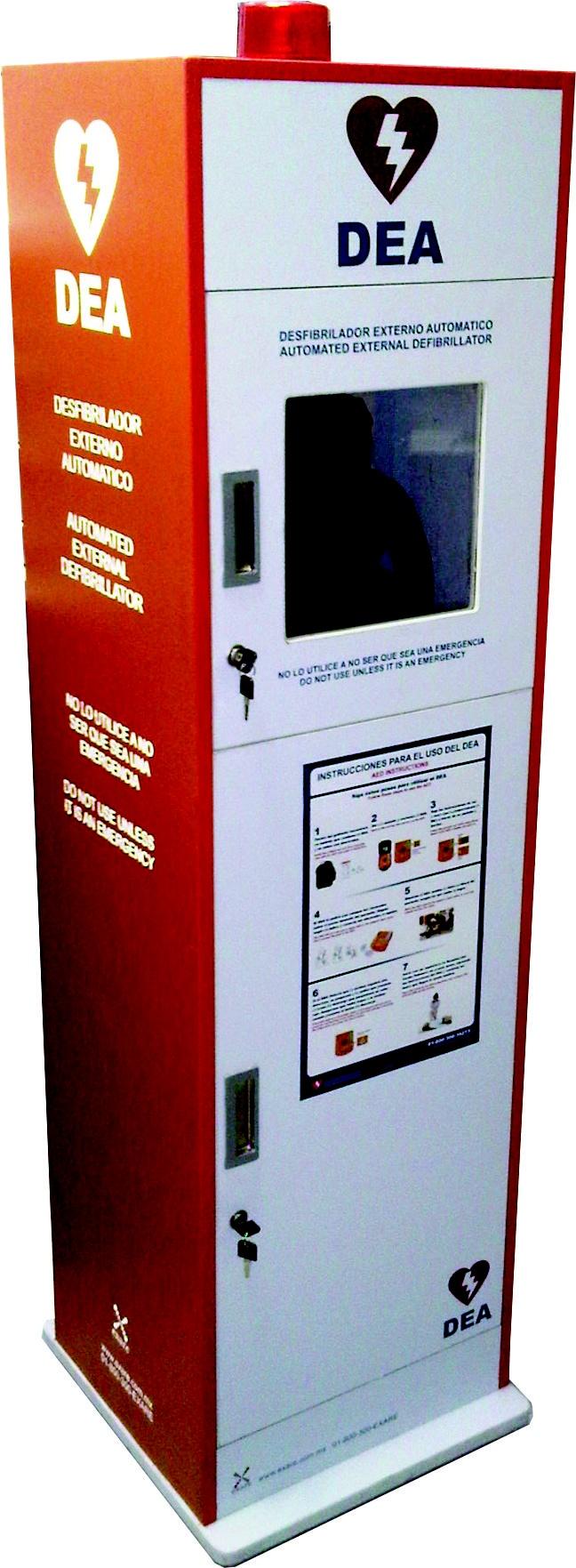 Gabinete básico de pedestal para el resguardo de un DEA, compatible con cualquier marca y modelo. Cuenta con alarma que se activa al abrir la puerta. Tiene un sistema de seguridad activo y pasivo con candados seriados.
