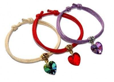 Bransoletki Sznurkowe z Sercem Swarovski Heart. 1400 Kolorów #Swarovski #jewelry #bizuteria