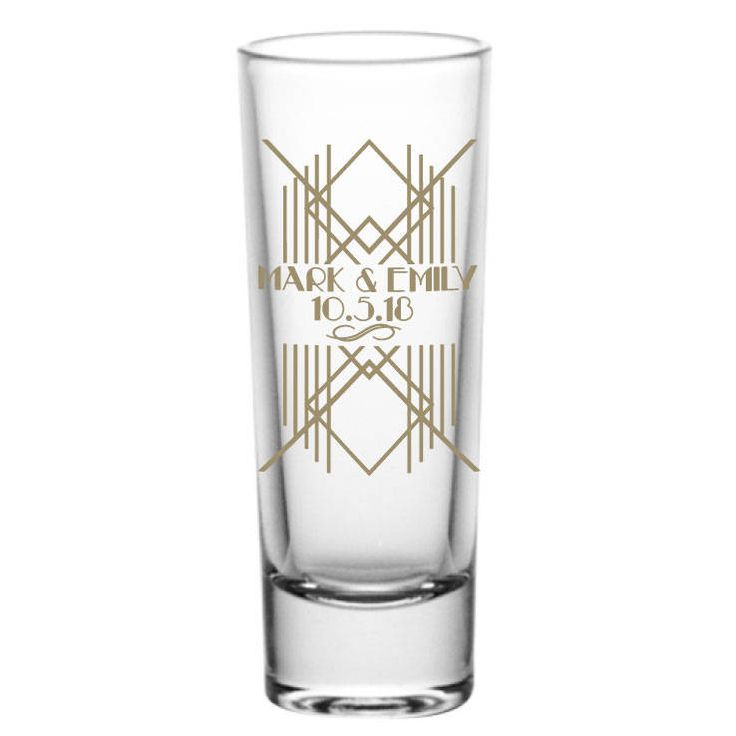 Art Deco Roaring Twenties Personalized 2oz Tall Glass Tequila Shot Glasses Wedding Favors - Great Gatsby Theme - Custom Wedding Favor by Factory21 on Etsy