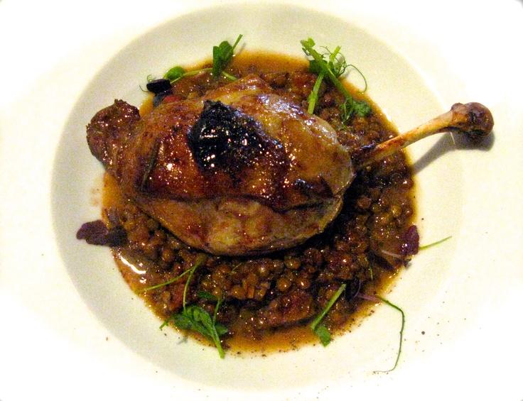 Confit di Coscia d'Anatra: duck leg confit with beluga lentils in a Vinsanto sauce
