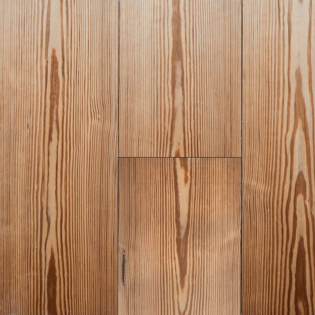 Re-machined from old beams, Pitch Pine is harder and more resilient than most pines. These boards have a rich, deep colour and decorative grain, manufactured planed, square edge.
