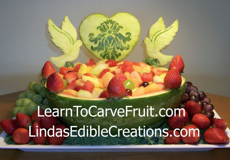 Watermelon fruit carving for a bridal shower with two