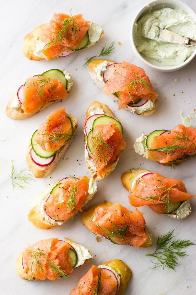Smoked Salmon and Herb Cheese Crostini - easy and elegant appetizer to add to your holiday table!   littlebroken.com @littlebroken