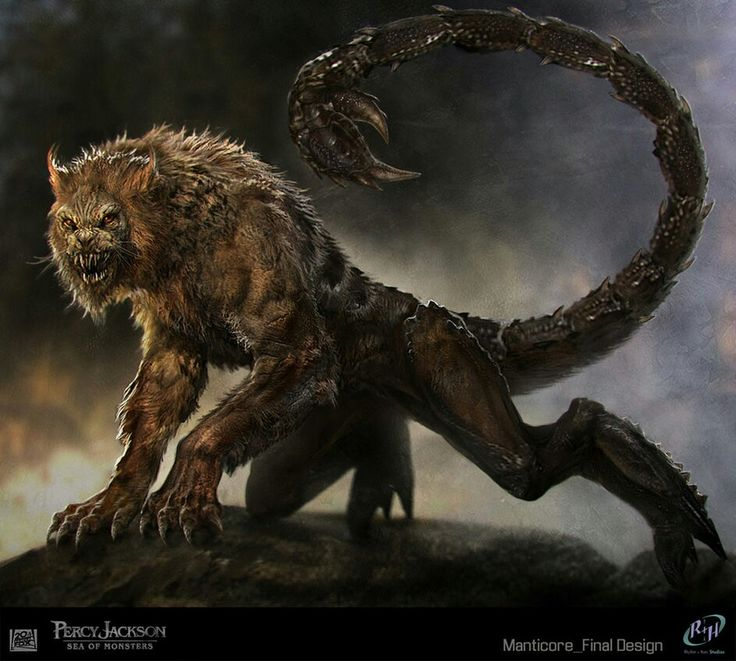 Manticore is a Persian legendary creature similar to the Egyptian sphinx. It has a body of a red lion, a human head with three rows of sharp teeth, sometimes bat-like wings. Other aspects vary from the story: it may be horned, winged, or both. The tail is either dragon of scorpion.
