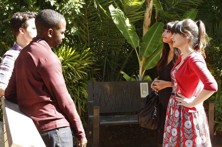 Jess (Zooey Deschanel, R) and Cece (Hannah Simone, second from R) meet up at the zoo with Nick (Jake Johnson, L) and Winston (Lamorne Morris, second from L) in the                            Jess (Zooey Deschanel, R) and Cece (Hannah Simone, second from R) meet up at the zoo with Nick (Jake Johnson, L) and Winston (Lamorne Morris, second from L) in the - via StyleList