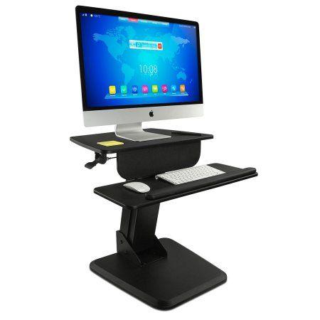 Mount-It! Sit Stand Workstation, Standing Desk, Sit-Stand Converter for Laptop, Desktop, Monitor, Ergonomic Free Standing Adjustable Gas-Spring Arm, Black