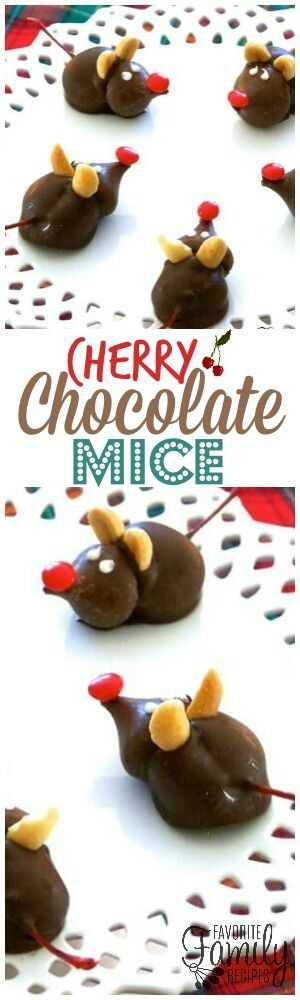 These Cherry Chocolate Mice are the cutest little Christmas time treat. A fun Christmas activity for kids that they can eat! via @favfamilyrecipz