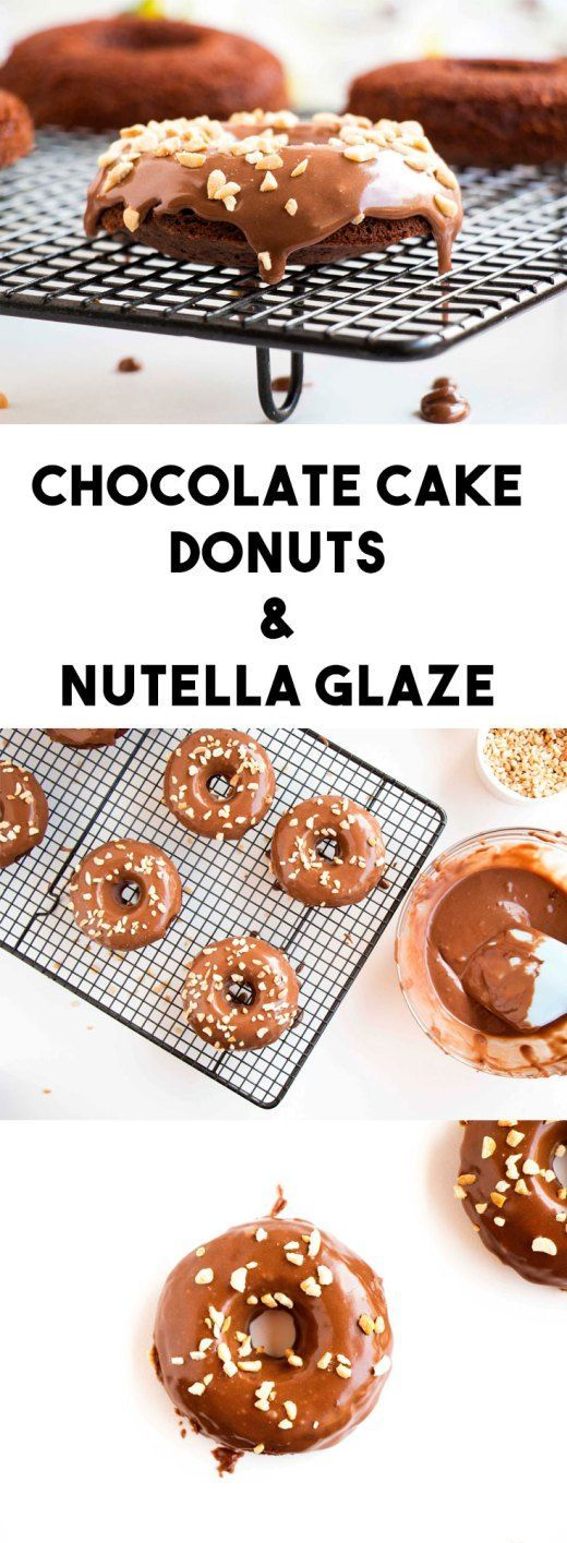 Baked Chocolate Cake Donuts Topped With Nutella Glaze - Baking-Ginger