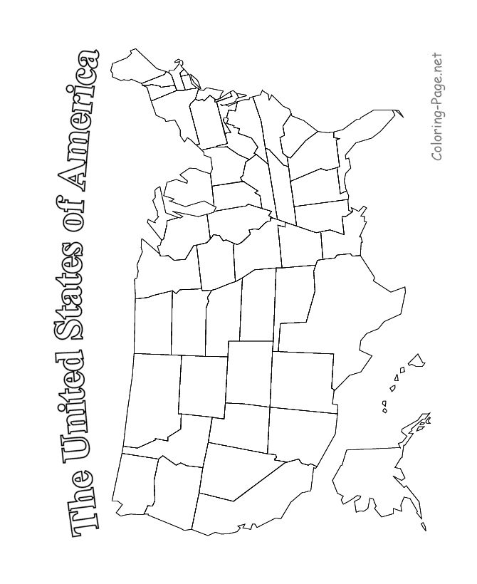 United States Map - Printable blk and white - color in union states and confederate states