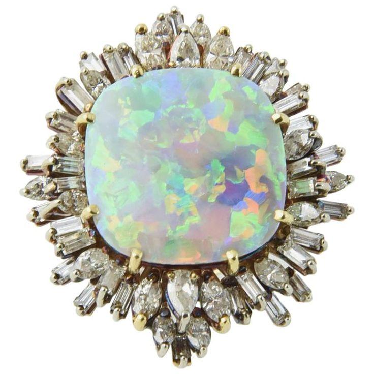 Intense Gray Crystal Harlequin Opal Diamond Gold Ring #opalsaustralia