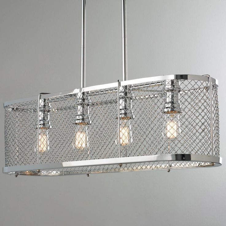 Polished Chrome Mesh Linear Chandelier 85 best