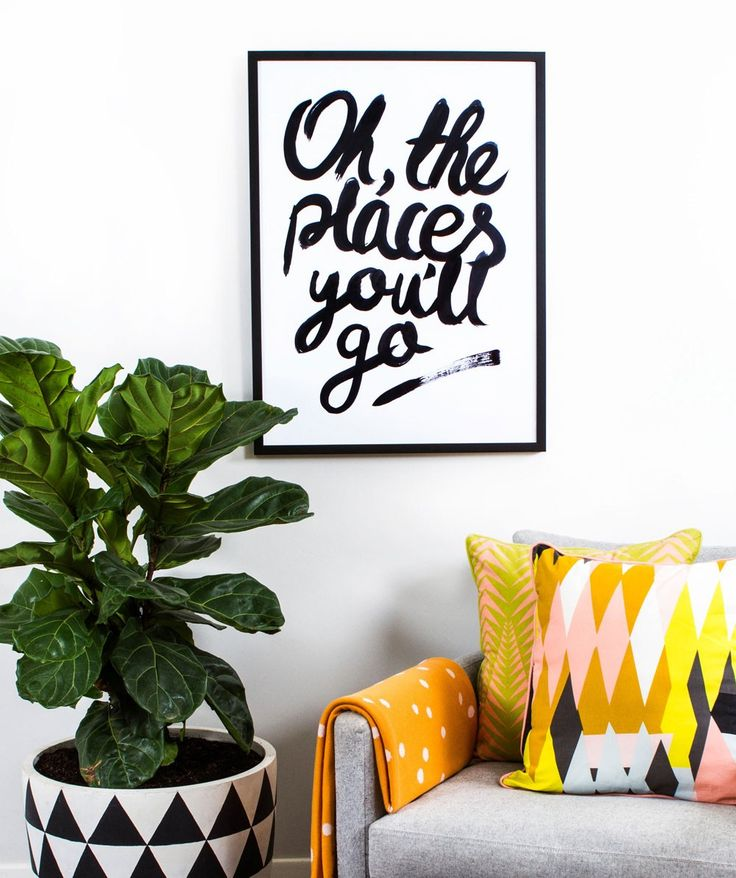 This striking typographic poster is inspired by the Dr Seuss classic 'Oh the places you'll go'. Hand written with ink and printed onto large, heavy weight paper. Your walls will thank you! | huntingforgeorge.com