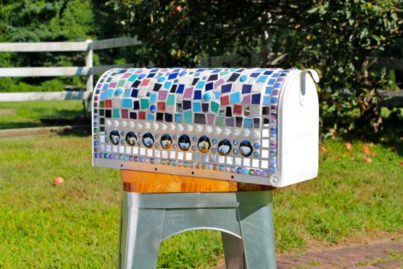 Mosaic US Mailbox by GrainnesGoods on Etsy