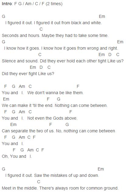One Direction - You And I Chords Capo 1