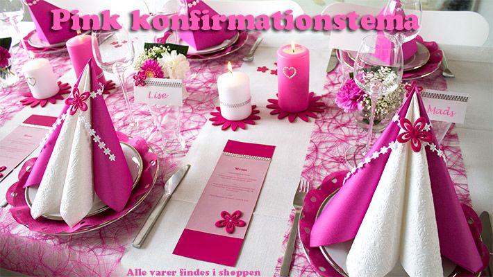 pink borddækning til konfirmation