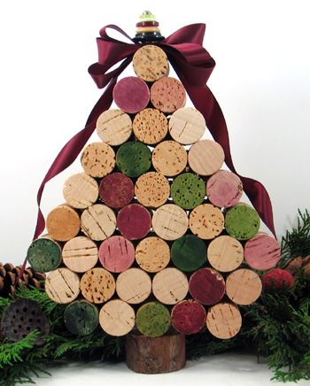 I made trees similar to this one.  I used 28 corks, both red and white wine.  On the top I used some greenery.  So cute and easy!