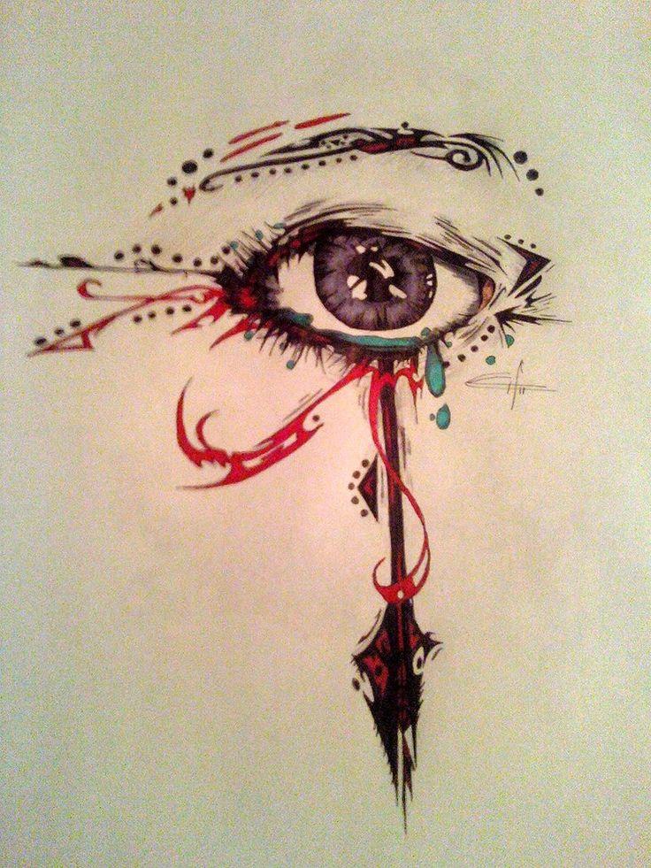 "An interesting interpretation of ""the eye of Rah""- an ancient Egyptian spiritual symbol- watercolour tattoo idea"