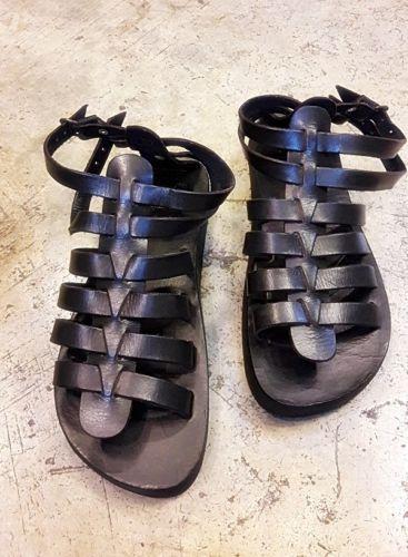 e003e5fb Zapatos de Cuero Negro Gladiador Jesús Sandalias Planas Al Tobillo Correa  Hecho a Mano Hombres Tomboy