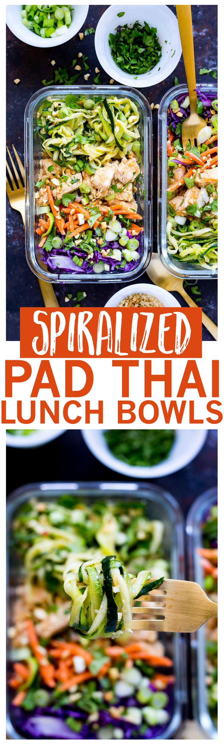 Spiralized Pad Thai Chicken Meal Prep Bowls | Healthier, low-carb version of Thai takeout | Super easy Pad Thai sauce!
