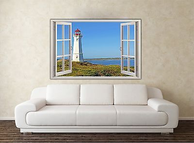 Louisbourg Lighthouse 3D Window View Removable Decal Home Decor Mural Wall Vinyl