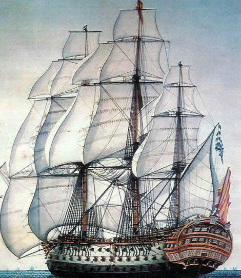 """Le Santísima Trinidad («Sainte Trinité»), surnommé « El Escorial de los mares », à partir de 1766. -- The Spanish warship Holy Trinity (Santísima Trinidad). Known as """"El Escorial of the seas"""", it was the only ship in the Battle of Trafalgar that had four decks and 136 cannon."""