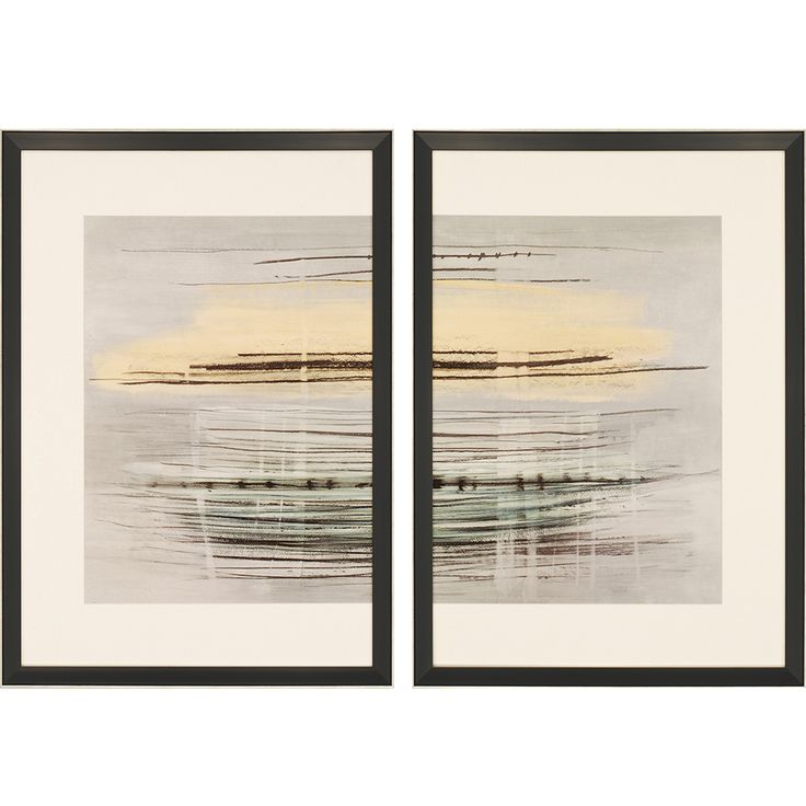 Sunrise Tracks.  Contemporary diptych features white asymmetrical matting.